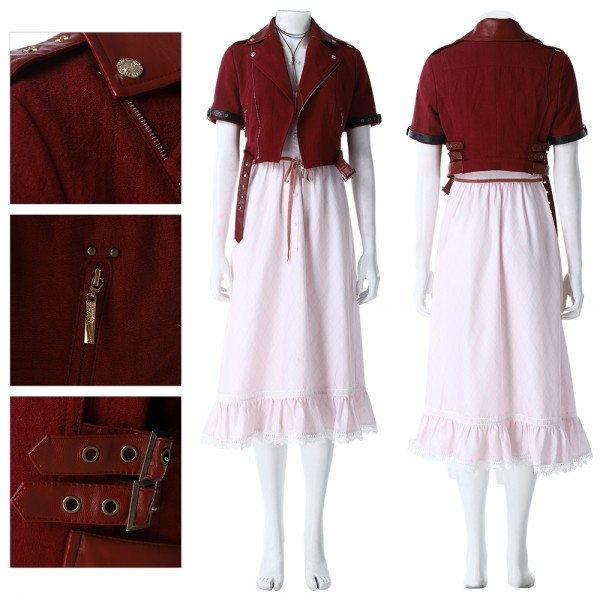 Final Fantasy VII Remake Aerith Cosplay Costumes Red Suit Xzw190290