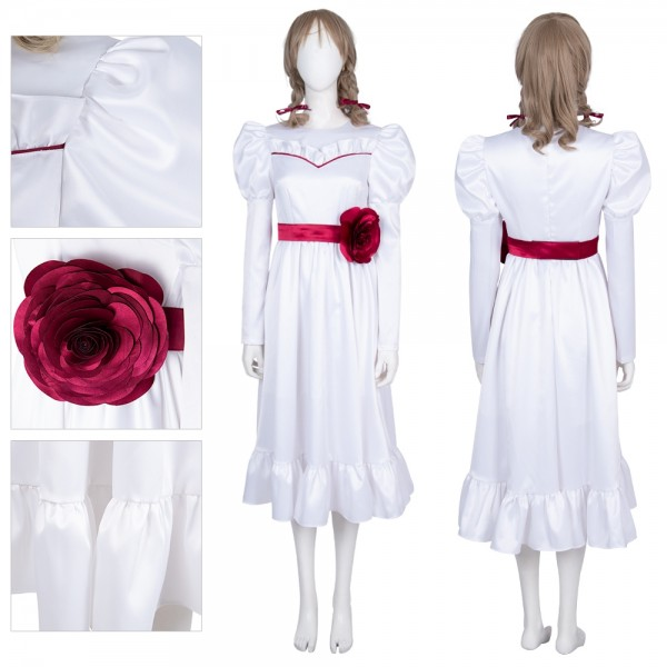 Annabelle White Satin Dress Cosplay Costumes