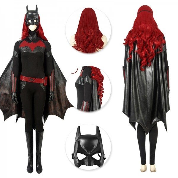 Batwoman Cosplay Costume Kate Kane Red Wig And Black Suit