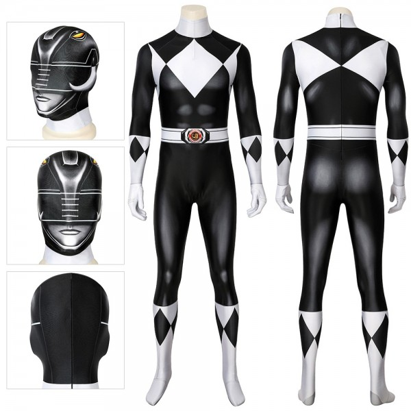Black Power Rangers Suit Halloween Cosplay Costumes Spandex Printed Zentai Suit