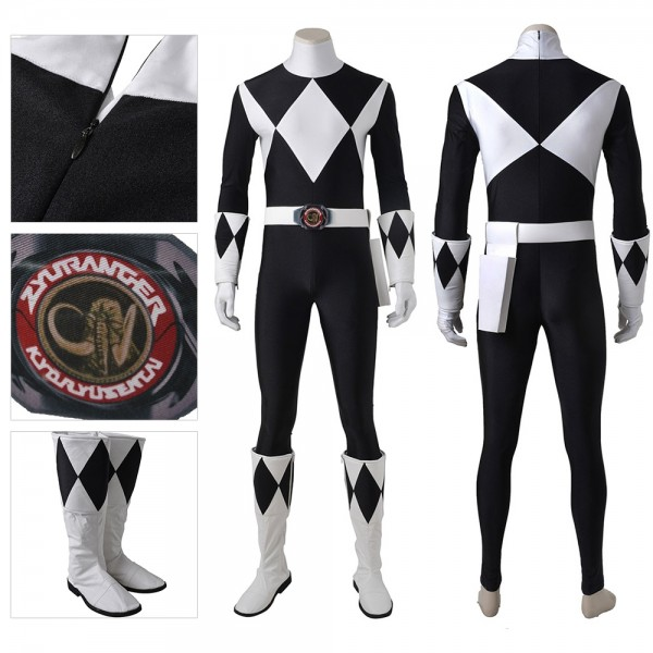 Black Ranger Cosplay Costume Mighty Morphin Power Rangers Artificial Leather Suit