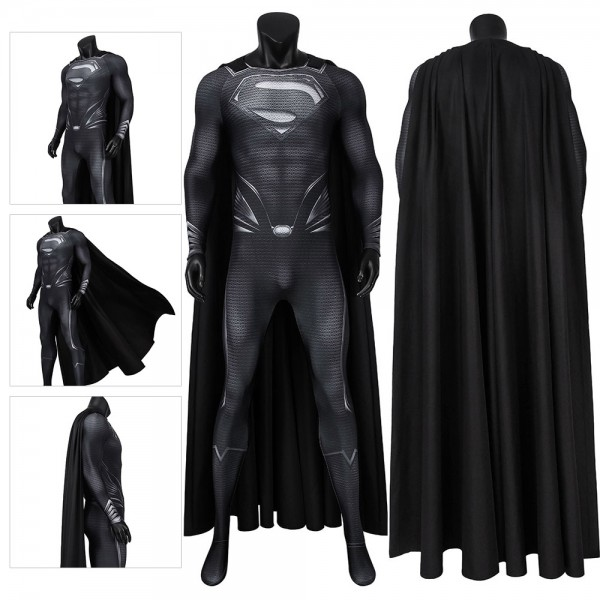 Black Superman Cosplay Costume SuperMan Printed Black Suit