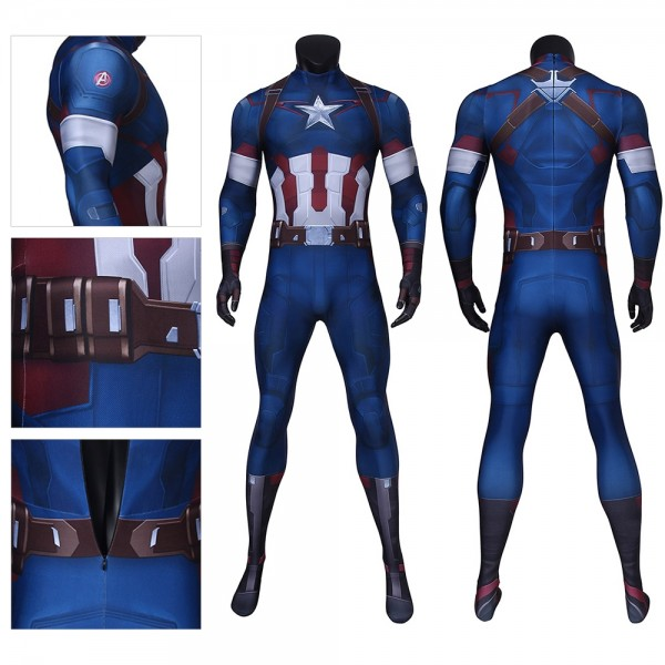 Captain America Cosplay Costume 3D Spandex Jumpsuits