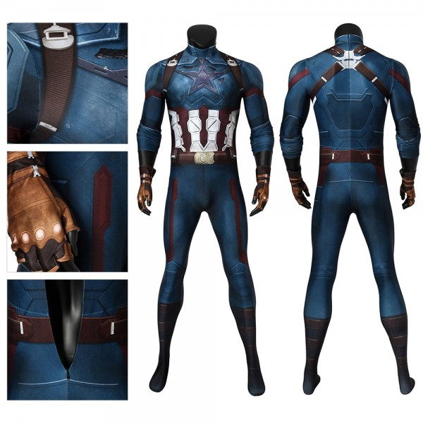 Captain America Cosplay Suit Infinity War Edition Battlefield Damaged Bodysuit