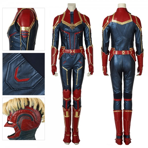 Carol Danvers Cosplay Costume Captain Marvel Artificial Leather Suit