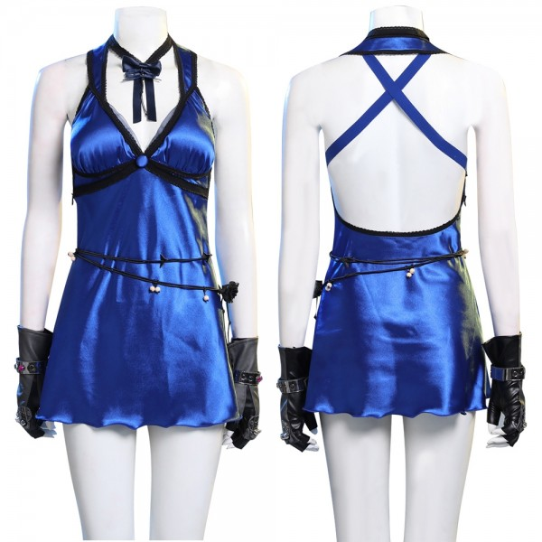 Final Fantasy VII Remake Tifa Blue Dress Cosplay Costumes