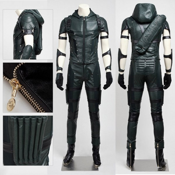 Green Arrow Oliver Queen Cosplay Costume Season 4 Artificial Leather Suit