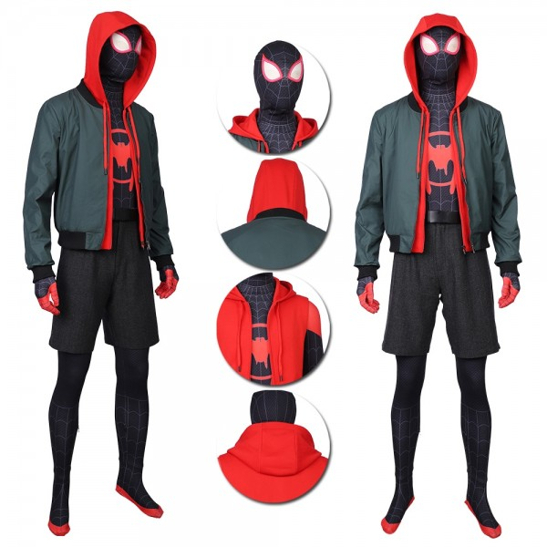 Into the Spider-Verse Miles Morales Suit Cosplay Costume Deluxe Edition