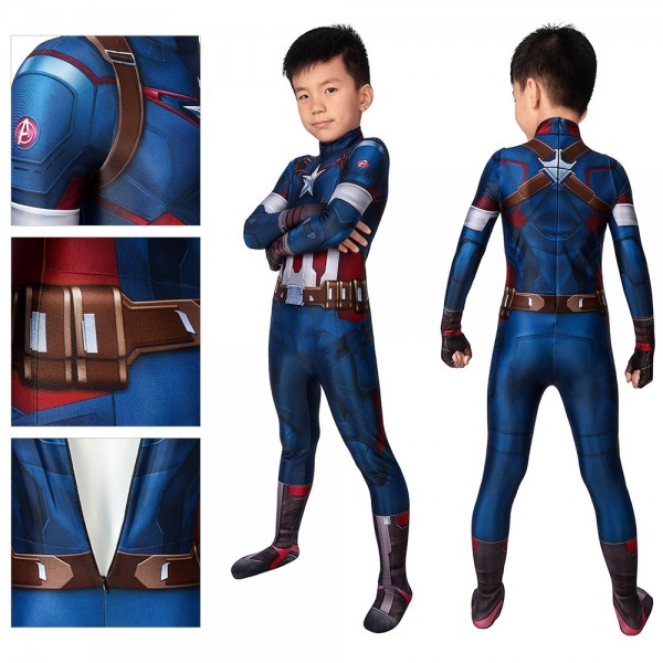 Kids Suit Captain America Age Of Ultron Cosplay Costume