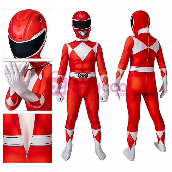 Kids Red Ranger Spandex Printed Cosplay Suit Power Rangers Cosplay Costume
