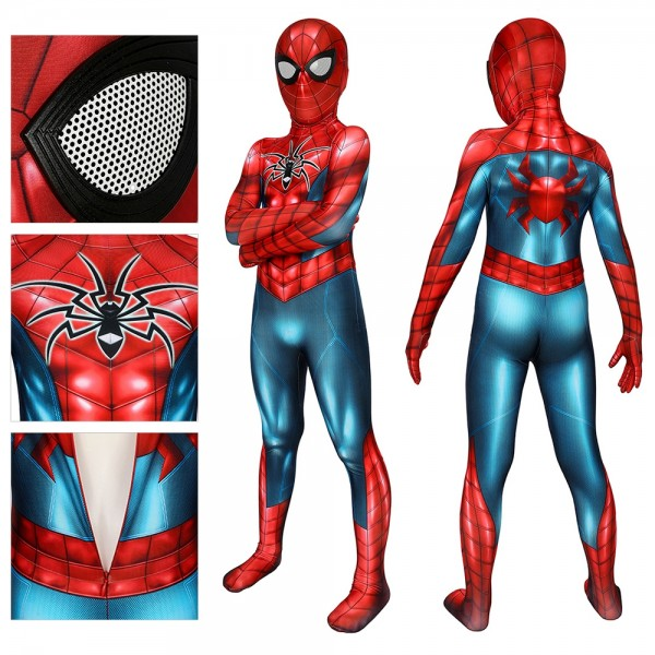 Kids Spider-Armor MK IV Cosplay Suit Spider-man Spandex Printed Cosplay Costume