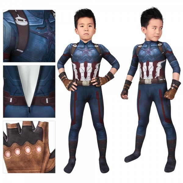 Kids Suit Captain America Infinity War Cosplay Costume