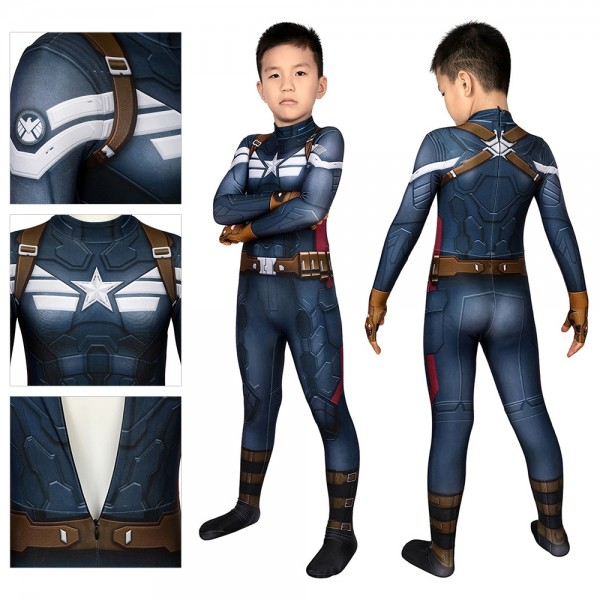 Kids Suit Captain America Cosplay Costume Spandex Printed Cosplay Suit
