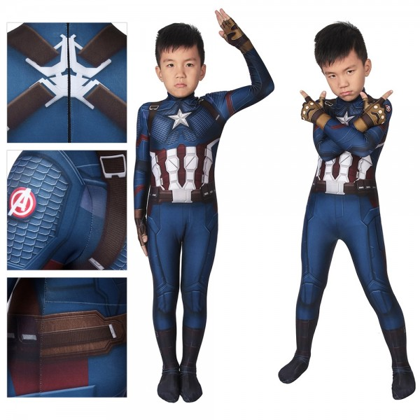 Kids Suit Endgame Steven Rogers Captain America Cosplay Costume