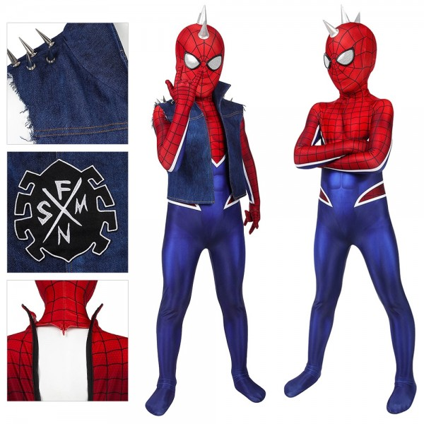 Kids Suit Punk Spider-man Cosplay Costume