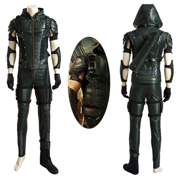 Oliver Queen Cosplay Costume Green Arrow Cosplay Suit xzw180088