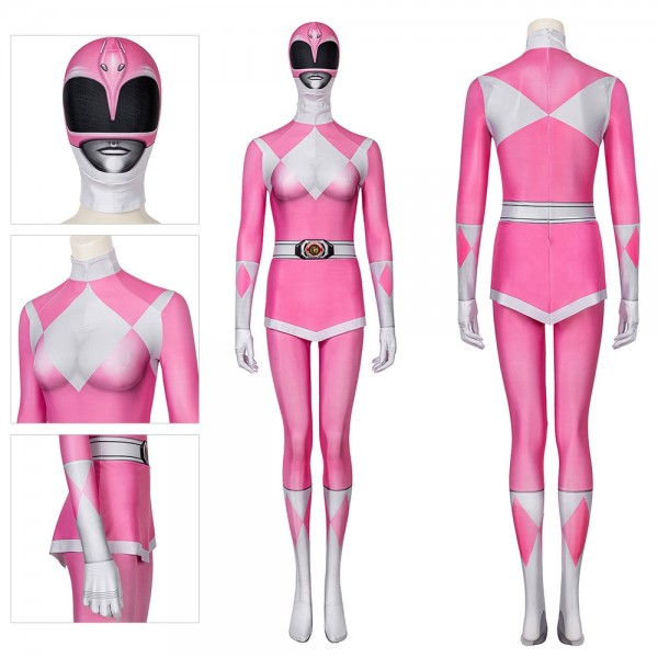 Power Rangers Costume Cosplay Mighty Morphin Pink Ranger Spandex Cosplay Suit