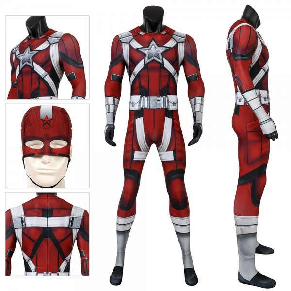 Red Guardian Cosplay Spandex Suit Red Guardian Spandex Cosplay Jumpsuit