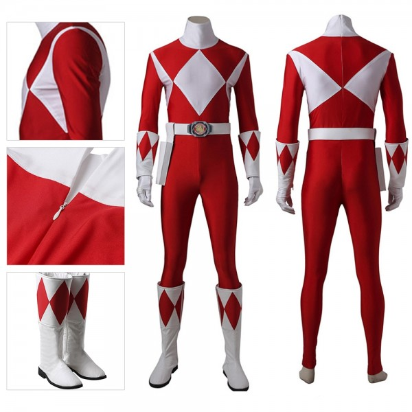 Red Ranger Cosplay Suit Artificial Leather Costume Mighty Morphin Power Rangers