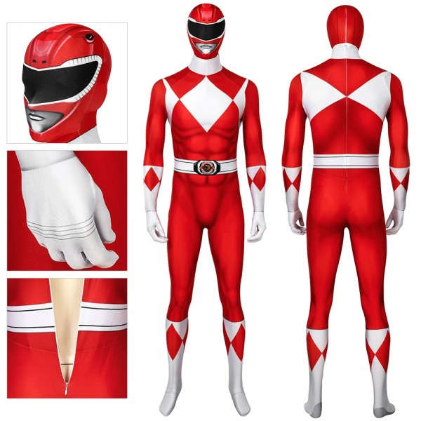 Red Ranger Spandex Cosplay Suit Mighty Morphin Power Rangers  Cosplay Costume