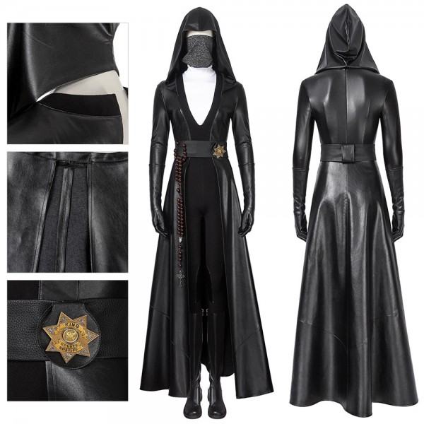 Sister Night Cosplay Costumes Watchmen Artificial Leather Black Suit