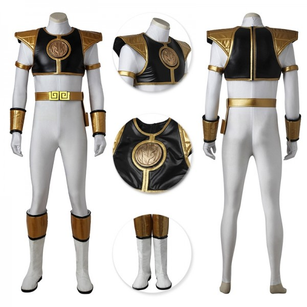 Tommy Oliver Suit Mighty Morphin Power Rangers White Ranger Cosplay Outfits