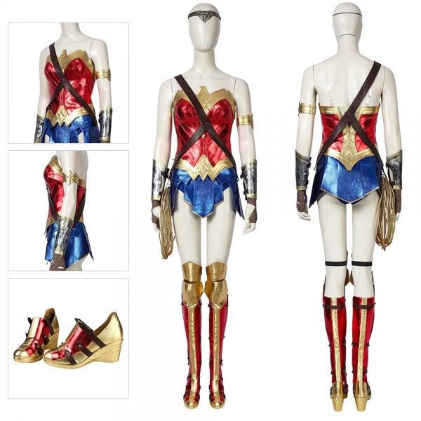 Wonder Woman Cosplay Costumes WW1984 Diana Prince Cosplay Red Leather Suit