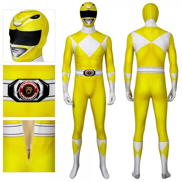 Yellow Ranger Spandex Cosplay Costume Mighty Morphin Power Rangers Cosplay Suit