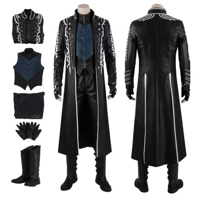 Devil May Cry Vergil Dante Cosplay Costume Outfit Custom Made Halloween Suit